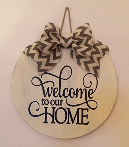 """18"""" Round Wooden """"Welcome To Our Home"""" Door Sign / Wreath /"""