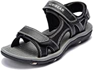 ziitop Mens Sandals Open-Toe Leather Outdoor Hiking Sandals Athletic Beach Shoes Water Beach Sandals