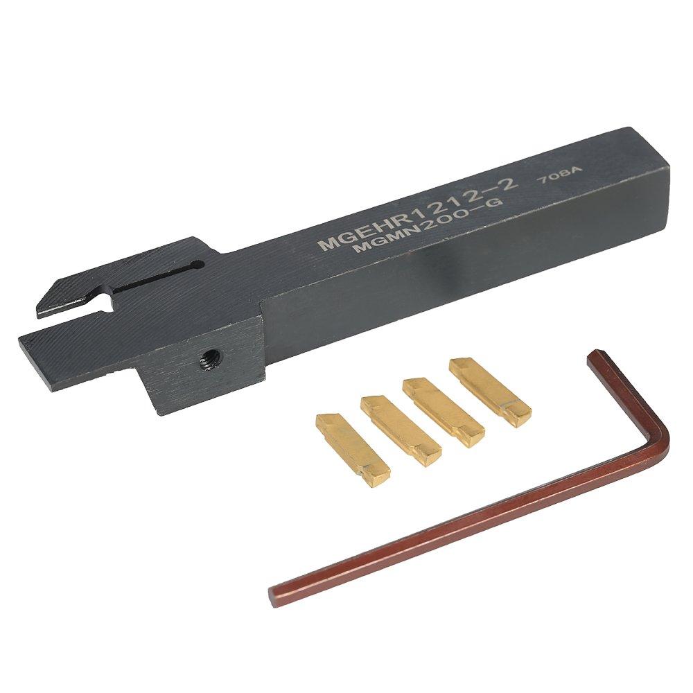 KKmoon 4 pcs/caja MGMN200 carburo Inserts + 12 * 100 mm Mgehr1212 –  2 + Llave elefante Torre herramienta de torno de bis para má quina CNC