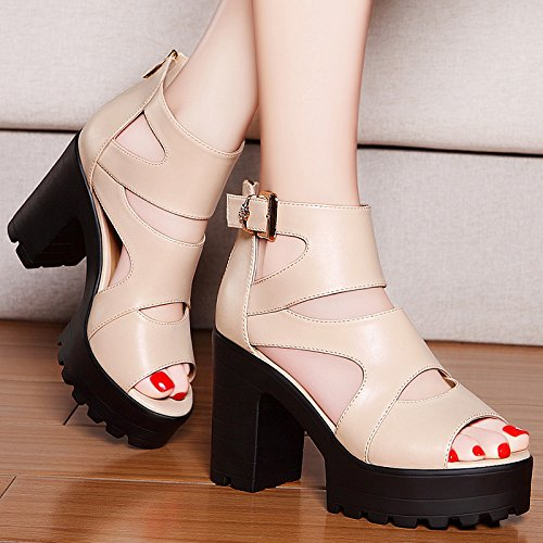 Fish Sandals Beige Summer heels Thick 2018 New Shoes Spring Heel Mouth With Shoes High Thick Jqdyl Wild High Z7TxwO