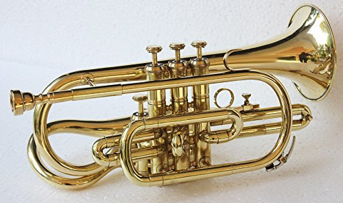 4 Valve Chrome Echo Cornet Attached Brass W/Case Gold by SHREYAS