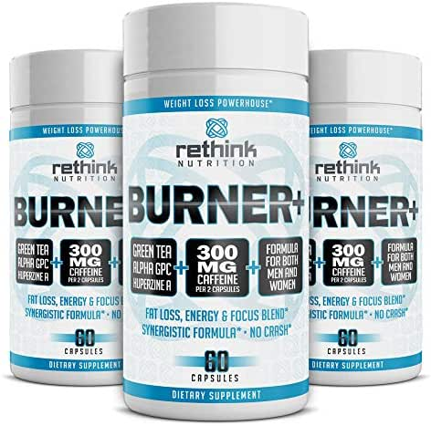 Rethink Nutrition Fat Burner - 60 Weight Loss and Energy Boosting Capsules, with Caffeine for Men and Women, Huperzine A, Green Tea Extract, and Alpha GPC