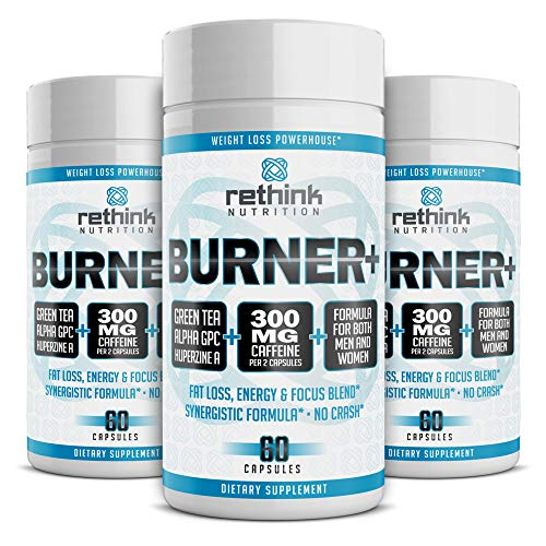 Rethink Nutrition Fat Burner, Energy Booster, Caffeine, Intense Focus With Huperzine A, Green Tea Extract, Preworkout, Nootropic, Exercise Program Aid For Weight Loss, Alpha GPC