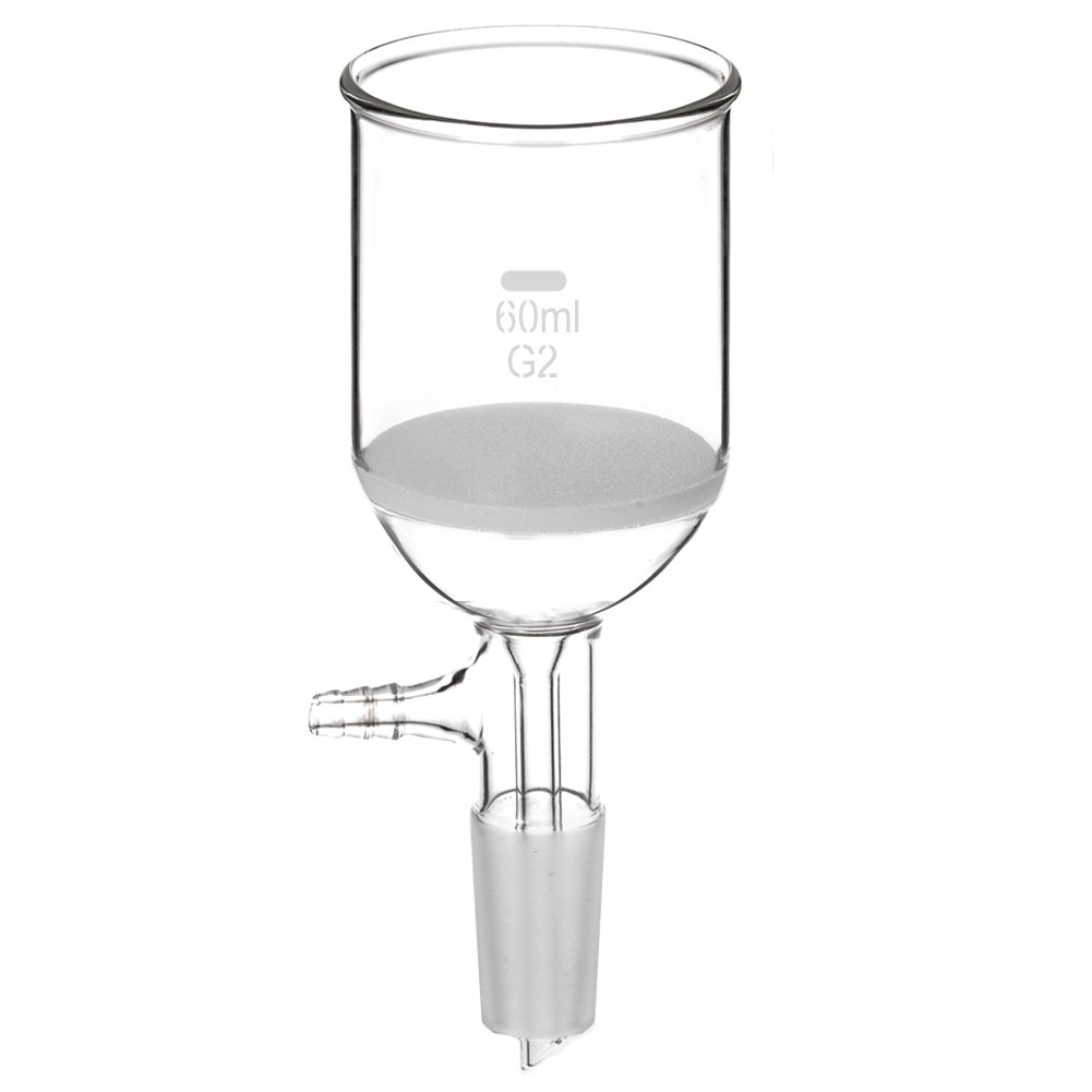 StonyLab Borosilicate Glass Buchner Filtering Funnel 60 mL with Medium Frit, 54mm Disc Diameter,60mm Depth, with 24/40 Standard Taper Inner Joint and Vacuum Serrated Tubulation (60 mL) StonyLab Scientific 4336062553