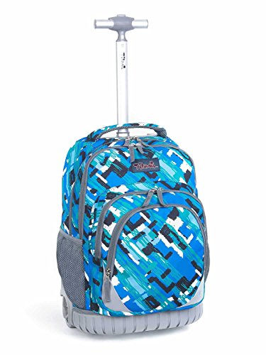 Grade Roller Cover - Tilami Anti-wear Compressive Roller Book Bag Luggage Backpack with Wheels Oversized Load 18 Inch for Laptop (Canvas Blue)