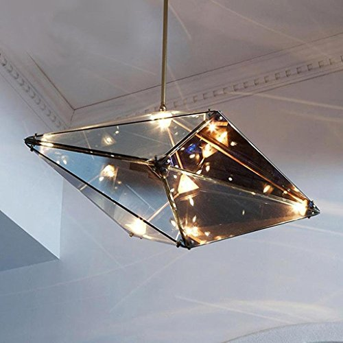 HOMEE Ceiling Chandelier-Modern Creative Personality Art Post-Modern Chandelier Glass Restaurant Living Room Art Diamond Geometric Diamond Cafe Chandelier #2,#2 by HOMEE