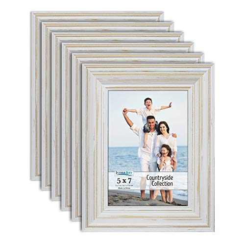 Icona Bay 5x7 Picture Frames (6 Pack, Creamy White), Picture Frame Set, Wall Mount or Table Top, Set of 6 Countryside Collection (Frames White Distressed Wall)