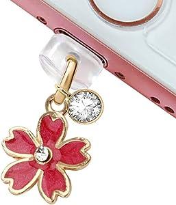 CP161 USB Charging Port Anti Dust Plug Cute Little Red Cherry Blossom Pendant Phone Charm for iPhone 11/ XS MAX/XR/X/8 Plus/7/6S/7/SE iPad iPod