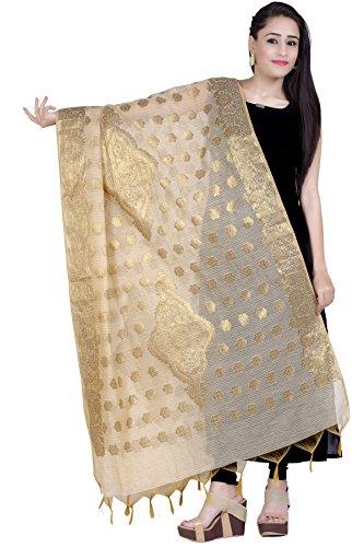 Appealing Saree - Chandrakala Women's Handwoven Zari Work Banarasi Dupatta Stole Scarf (Beige)