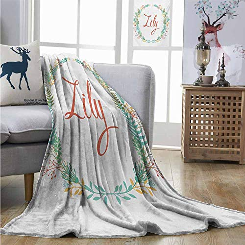 Homrkey Office Blanket Lily Colorful Wreath Design with Foliage Leaf Celebratory Girl Name Classic Nature Pattern Mini Couch Blanket W54 xL84 -