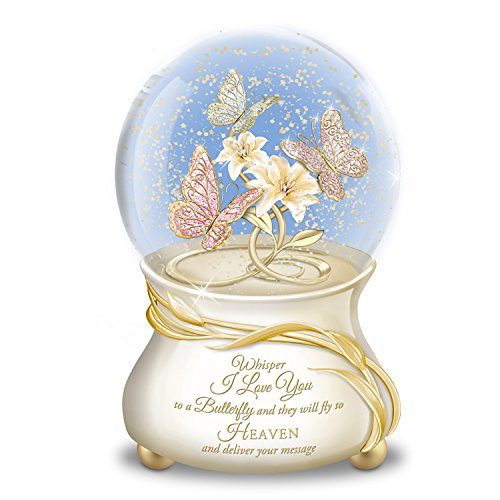 Large Musical Snowglobe - Butterfly Musical Glitter Globe With 22K Gold Lettering Plays Always In My Heart by The Bradford Exchange