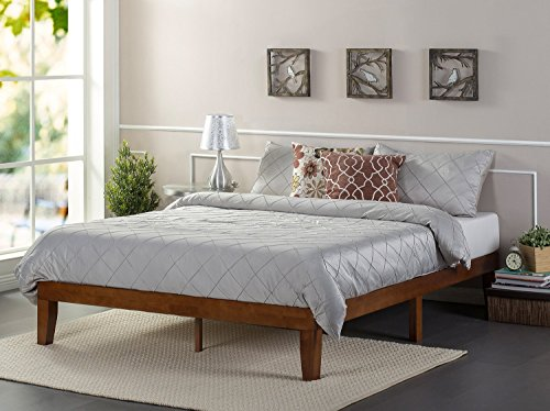 (Zinus 12 Inch Wood Platform Bed/No Boxspring Needed/Wood Slat support/Cherry Finish, Queen)