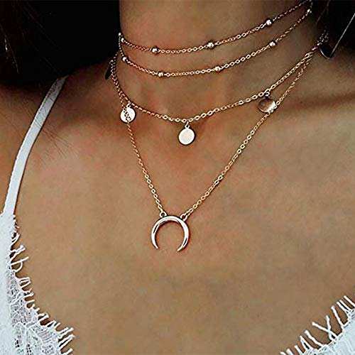 Anglacesmade Bohemia Layered Choker Necklace Moon Necklace Gold Beaded Choker Disc Necklace Crescent Moon Coin Charm Pendant Necklace Multilayer Station Chain for Women and Girls(Silver)