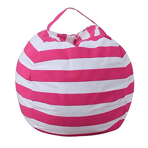 UNIhappy Canvas Stuffed Plush Toy Bag Foldable Clothes Storage Bean Bag(Rose Red/S)