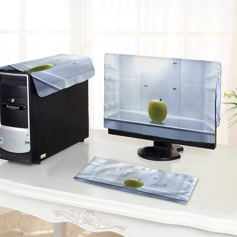 """UHOO2018 dust Cover for Computer 3 Pieces one Apple in Open Empty Refrigerator Weight Loss Diet Concept Suit Computer dust Cover /27"""""""