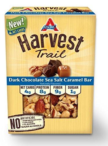 Atkins Harvest Trail Bars, Dark Chocolate Nuts Sea Salt Caramel, 1.3oz Bar, 5 Count by Atkins