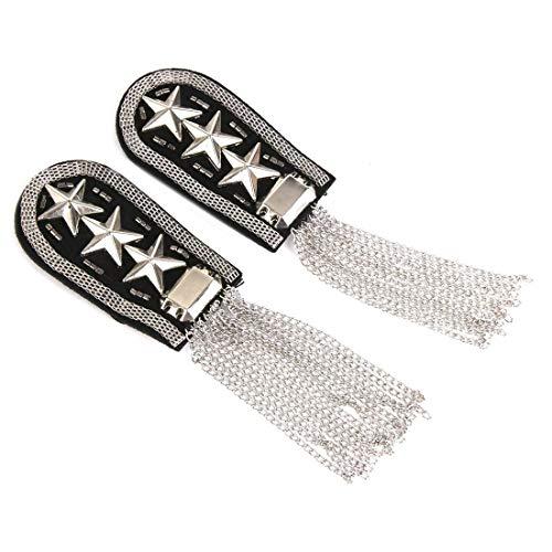 Badges - 1 Pair Military Star Tassel Link Chain Epaulet Shoulder Badge Silber - Shoulder Star Holder Badge Badges Shoulder Tassel Brooch Chain Military Dress Star Strap Fringe Tree Epaule ()