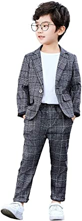 Ropa de Ocio o Vestido de Fiesta de Boda Conjunto de Traje de 2 Piezas para ni/ños Conjunto de Blazer y pantal/ón Gris a Cuadros para ni/ños