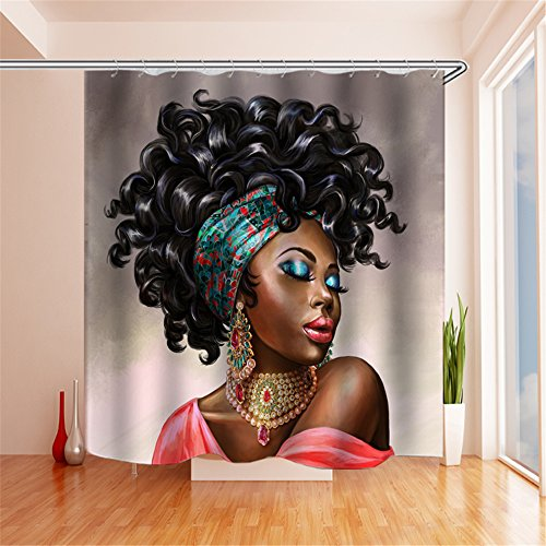 Sexy Black Girl Shower Curtain Set, Thick Polyester Fabric,