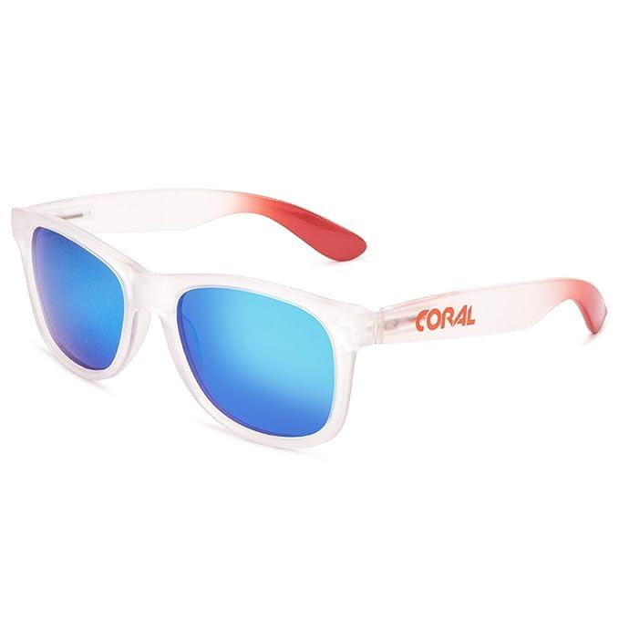73078218cb CORAL Sunglasses - SAMOA - Gafas de sol montura blanca frosted y lentes  espejo revo azul