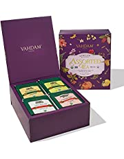 VAHDAM, Turmeric Herbal Tea, Assorted Gift Set - 6 Superfood Blends (75 Cups), Turmeric Tea with Moringa, Ginger, Fennel, Spices   Best Gifts for Everyone   Birthday Gifts