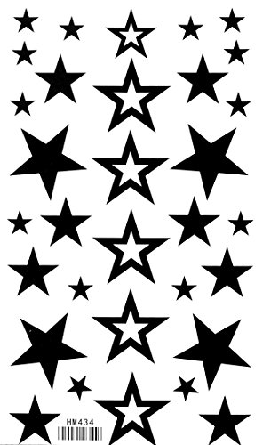 Star Temporary Tattoos Taterproof Tattoo Stickers Non-toxic Solid Hollow 5 Pointed Tattoo Stickers