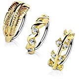 MoBody 3-Pack 20G Nose Ring Piercing Hoop Paved CZ Crawler Surgical Steel Cartilage Earring Set (8mm) (Gold-Tone)