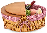 Wicker Picnic Baskets with Double Folding Handles | Little Red Riding Hood Basket for Kids | Hard Wood Top | Hand Woven Wicker Great for Easter Basket | Storage of Plastic Easter Eggs Gingham Basket
