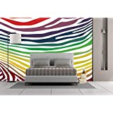 Large Wall Mural Sticker [ Zebra Print,Colorful Zebra Stripes Pattern in Cheering Rainbow Color Modern Style Art Decorative,Red Yellow Green ] Self-Adhesive Vinyl Wallpaper/Removable Modern Decorati
