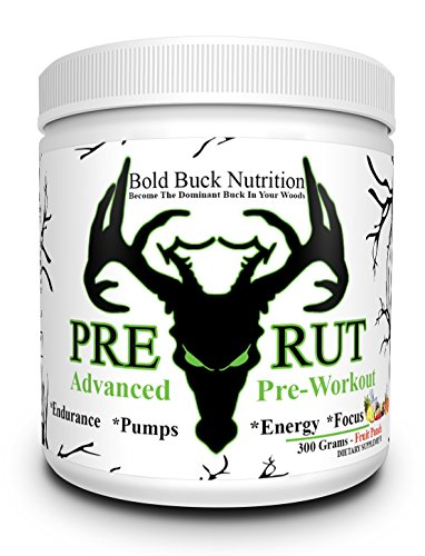 Pre-Rut - Advanced Pre-Workout - Insane Pumps, Endurance, Energy, and Focus - Creatine, Vitamins, Minerals - Made in the USA - GMP Certified Facility 300 Grams