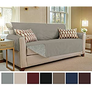 "Gorilla Grip Original Slip-Resistant Furniture Protector, Suede-Like Material, Slip Reducing Backing, Two 2"" Thick Straps, and Two Seat Anchors (Sofa: Charcoal)"