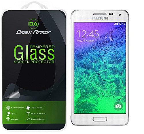Samsung Galaxy Alpha Glass Screen Protector, Dmax Armor® [Tempered Glass] Ballistics Glass, 99% Touch-screen Accurate, Anti-Scratch, Anti-Fingerprint, Bubble Free,[0.3mm] Ultra-clear -Retail Packaging