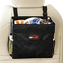 EPAuto Waterproof Car Trash Bin Leakproof Auto Litter Bag with Side Pocket, Black