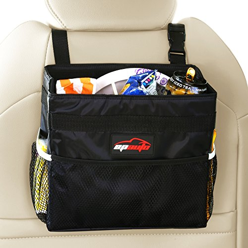 EPAuto Waterproof Car Trash Bin Leakproof Auto Litter Bag with Side Pocket, Black