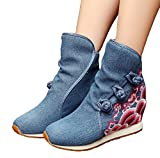 AvaCostume Womens Wave Embroidery Wedge Heel Button-up Ankle Booties, P Blue 40