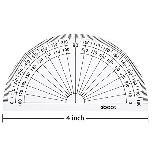 eBoot Plastic Protractor 180 Degree, 4 Inch and 6 Inch, Clear, 2 Pieces by eBoot (Image #4)