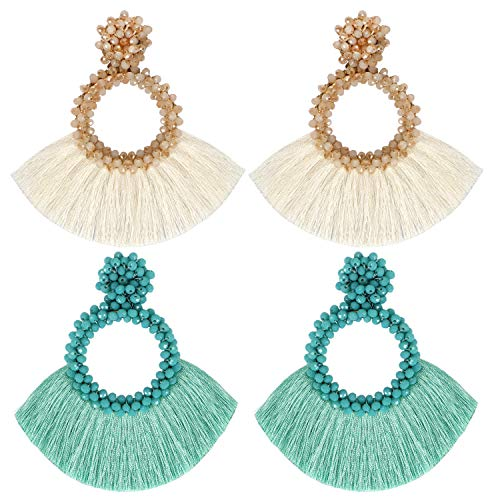 Bascolor 2 Pairs Beaded Tassel Earrings for Women Hoop Fringe Boho Lightweight Statement Drop Dangle Earrings for Lady Girls Jewelry,White&Green