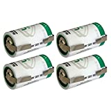 4x SAFT LS33600 D Size 3.6V Lithium Thionyl Chloride Battery w/Tabs
