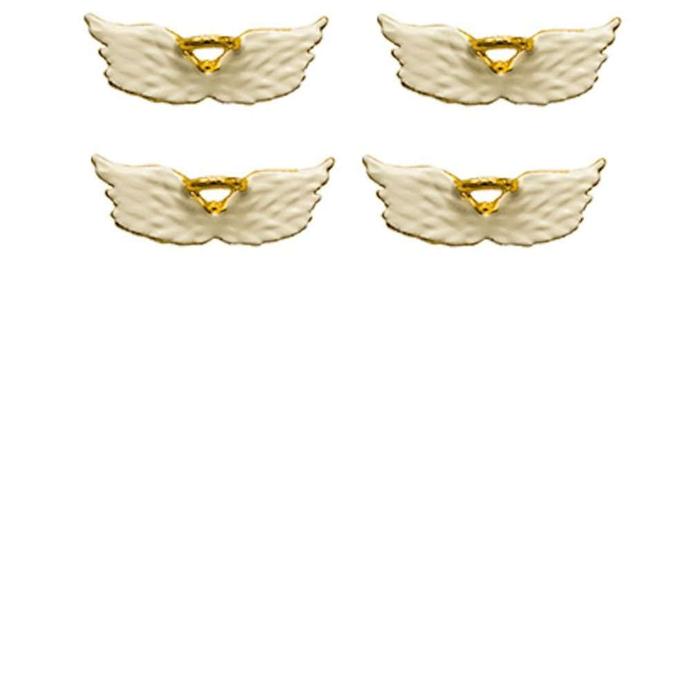White Angel Wings Pins with Gold Halo Set of 4 Sterling Gifts 2226