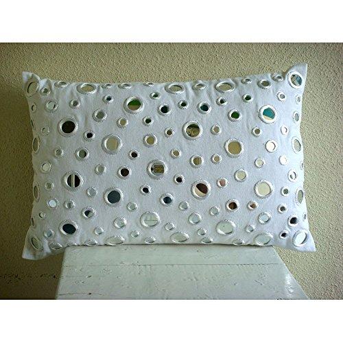 Luxury White Lumbar Pillow Cover, 12''x26'' Lumbar Pillow Cover, Mirror Polka Dots Lumbar Pillow Cover, Cotton Canvas Lumbar Pillow Cover, Polka Dot Contemporary Lumbar Pillow Cover - Mirrors by The HomeCentric