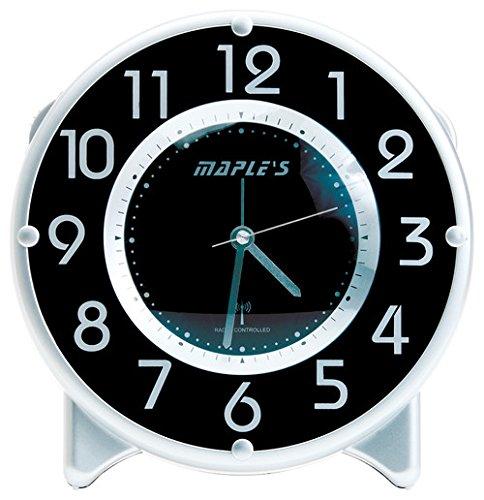Maple's Streamline Table Alarm Clock, Atomic Time Sync, Black Face -