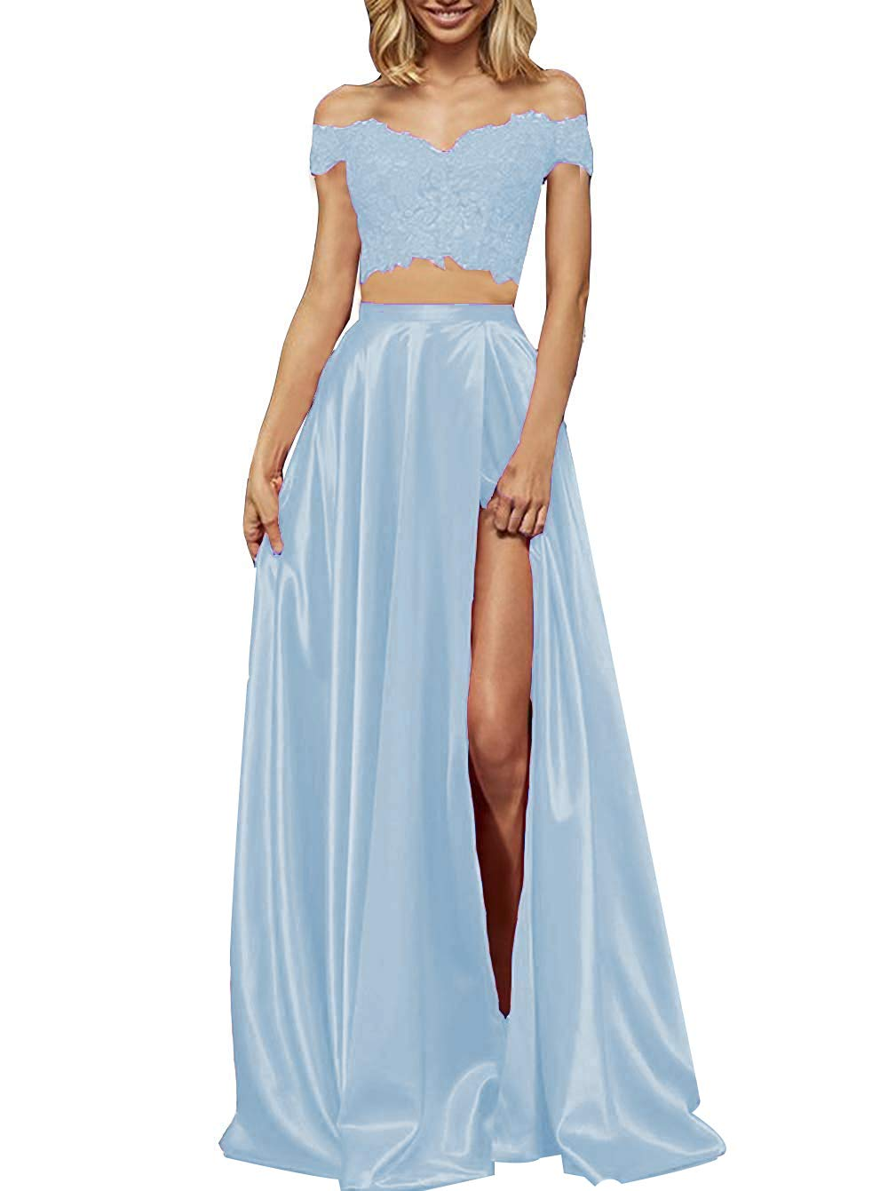 yinyyinhs Two Piece Prom Dresses Long