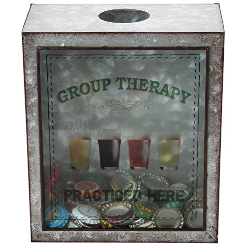 Lily's Home Group Therapy Practiced Here Beer Cap Holder, Shadow Box Makes the Ideal Gift for the Happy and Hydrated Beer Lover, Galvanized Metal (7 3/8'' x 4'' x 8 3/4'') by Lilyshome
