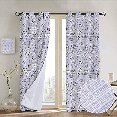 NUOMANAN Blackout Curtains Tea Party,Cups and Pot of Grand English Tradition Sugar Cubes and Little Spoons,Lilac Silver Navy Blue,for Bedroom,Nursery,Living Room 100