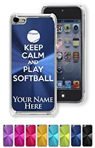 Case/Cover for iPhone 5C - KEEP CALM AND PLAY SOFTBALL - Personalized for FREE (Click the CONTACT SELLER link after purchase and send a message with your case color and engraving request)