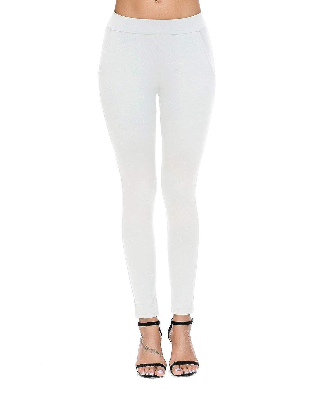 112f465db456e0 ... Bamans Womens Skinny Leg Work Pull on Slim Stretch Yoga Dress Pants w/Tummy  Control ...