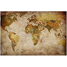 Wieco Art - Giclee Canvas Prints Wall Art Old Vintage World Map Pictures Photo Paintings for Living Room Bedroom Home Office Decor Modern Gallery Wrapped Abstract Classic Landscape Artwork 24x16 inch