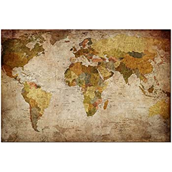 Amazon world modern day antique canvas wall map 24x36 prints wieco art world map large modern stretched and framed giclee canvas prints artwork brown abstract seascape pictures paintings on canvas wall art for living gumiabroncs Choice Image