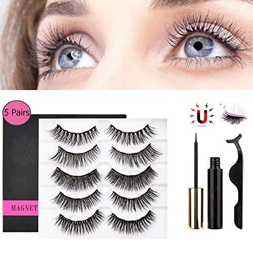 Magnetic Eyeliner Kit,2019 Upgraded Magnetic Eyeliner No Glue Reusable Magnets Lashliner with Tweezer (5 pair)