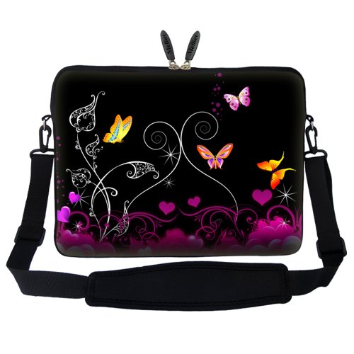with Computer Black 15 Neoprene 15 Shoulder inch Strap and Hidden Carrying Handle Portable Adjustable Case Laptop Mini 6 Butterfly Bag Sleeve UwwxCqv0